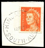 Lot 1815:Hindmarsh: - 'HINDMARSH/12FE71/SOUTH-AUST' on 6c orange QEII. [Unrecorded as a complete SDL.]  PO 29/1/1847.