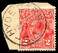 Lot 1818:Hyde Park: - 'HYDE PARK/12SE32/S.A.' on 2d red KGV.  PO 3/4/1922.