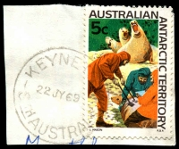 Lot 1826:Keyneton (2): - 'KEYNETON/22JY69/STH AUSTRALIA' (LRD) on 5c AAT. [Rated R]  Renamed from North Rhine PO c.-/4/1869.