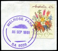 Lot 1846:Melrose Park: - violet 'MELROSE PARK/16SEP1991/SA 5039' (Opening Day) on 43c on piece.  PO 16/9/1991.