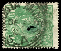 Lot 1853:Moonta Mines: - 25mm squared-circle 'MOONTA MINES/DE1?/2?/S_A' on 1½d green KGV (faults).  PO 1/4/1867; closed 30/6/1976.