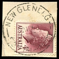 Lot 1875:New Glenelg: - 'NEW GLENELG/22AU58/SOUTH-AUST' on 4d lake QEII. [Rated 2R]  PO c.1875; renamed Glenelg South PO 1/2/1964.