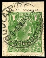 Lot 1887:Oodla Wirra: - 'OODLAWIRRA/9A2JA31/STH AUSTRALIA' (error - one word) on 1d green KGV.  PO c.1887; closed 12/11/1975.