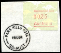 Lot 1895:Para Hills: - 'PARA HILLS 5096/18AU86/SA-AUST' on 33c Frama. [Rated R]  PO 28/3/1961.