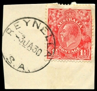 Lot 1914:Reynella: - 'REYNELLA/3JA30/S.A.' (no arcs) on 1½d red KGV.  PO 5/9/1856.