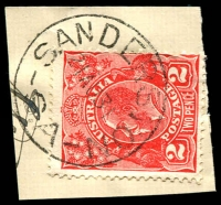 Lot 1915:Sanderston (2): - 'SANDERSTON/21AU31/S.A' on 2d red KGV. [Rated R]  PO 1/4/1886; closed 31/10/1980.