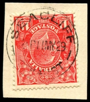 Lot 1917:Seacliff: - 'SEACLIFF/845P11MY29/STH AUST' on 1½d red KGV.  PO 1/7/1915; closed 27/11/1978.
