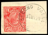Lot 1919:Second Valley: - 'SECOND VALLEY/14MY29/S.A' on 1½d red KGV.  Renamed from Rapid Bay PO c.-/9/1867; closed 30/11/1981.