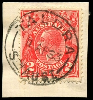 Lot 1923:Taldra: - 'TALDRA/11AP33/STH AUST' on 2d red KGV.  RO 2/2/1914; PO 15/4/1918; closed 27/2/1987.