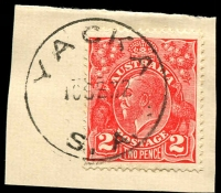Lot 1931:Yacka: - 'YACKA/10SE32/S.A.' (no arcs) on 2d red KGV.  PO c.1874; closed 28/6/1991.
