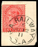 Lot 1937:Port Augusta Railway: 'P.A. RAILWAY/6/JU12/11/S_A' on 1d red.  PO c.1882; closed c.1917.