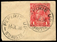 Lot 1938:Port Pirie Railway: 2 strikes of 'PT PIRIE UP/14JL16/STH AUSTR' on & alongside 1d red KGV. [Rated 3R]  PO c.1881; closed c.1927.