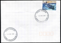 Lot 2028:Mowbray Heights: - 2 strikes of 38mm double-circle 'POSTAL MANAGER/18DEC2014/MOBRAY HEIGHTS TAS 7248' (sic) on 70c Submarine on unaddressed cover.  Renamed from Newnham PO 7/1/1961.