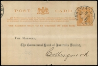 Lot 3114:T.P.O. 17: WWW #10 26mm circle 'UP TRAIN/M.G.17/MY8/93/VICTORIA' on 1d Post Card for Commercial Bank of Australia, Kyneton, addressed to Collingwood.  PO c.1888; closed c.1918