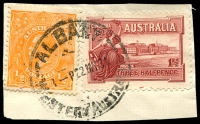 Lot 3136:Albany: - 'ALBANY/8--P22MY31/WESTERN AUSTRALIA' (A33T) on ½d orange KGV & 1½d Canberra.  PO 14/10/1834.