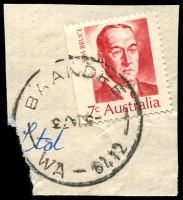 Lot 3141:Baandee: - 'BAANDEE/5JA73/WA-6412' (dateline inverted) on 7c Bruce.  PO 5/7/1909; closed 27/3/1975.