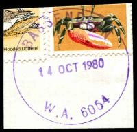Lot 3144:Bassendean: - 'BASSENDEAN/14OCT1980/W.A. 6054' (G33Ra) on 2c Crab & 5c Dotterel (cut-to-shape through stamps).  Renamed from West Guildford PO 23/9/1923.