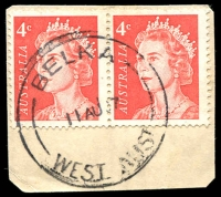 Lot 3148:Belka: - 'BELKA/11AU67/WEST AUST' on 4c red QEII pair.  RO 15/10/1914; PO 1/3/1921; closed 31/12/1984.
