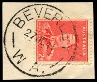 Lot 3151:Beverley: - 'BEVERLEY/27JE41/W.A.' (C30) on 2d red KGVI.  PO 1/5/1858.