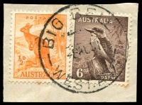 Lot 3153:Big Bell: - 'BIG BELL/8AU?1/WEST.-AUST.' ('PMI #E30b -'T-A' 4mm) on ½d Roo & 6d Kookaburra.  PO 1/4/1937; TO 30/9/1955; closed 8/3/1963.