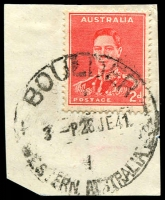 Lot 3159:Boulder: - 'BOULDER/3---P28JE41/WESTERN AUSTRALIA' (A33T-c), on 2d red KGVI.  Renamed from Great Boulder PO 15/9/1897.