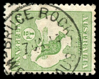 Lot 3166:Bruce Rock: - 'BRUCE ROCK/7JA14/WE[STN ]AUST.' (B27), on ½d Roo.  Renamed from Nunagin PO c.-/11/1913.