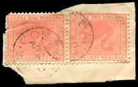 Lot 3181:Cossack (1): - 2 overlapping strikes of framed 'COSSACK/AP20/5/W.A.' on 1d pink Swan pair.  Renamed from North District PO c.-/8/1876; closed 31/5/1919.