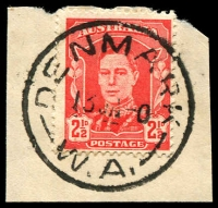 Lot 3188:Denmark (2): - 'DENMARK/13JA-0/W.A.' (C29) on 2½d red KGVI.  RO 15/2/1908; PO 2/11/1908.