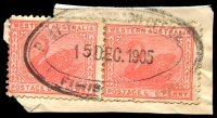 Lot 3197:Fimiston: - triple-oval 'POST & TELEGRAPH OFFICE/15DEC1905/FIMIS[TON W.A.]' on 1d pink Swan pair. [An example on cover realised $240 in sale #125.]  PO c.1901.