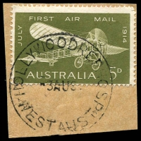 Lot 3219:Hollywood Repatriation Hospital: - 'HOLLYWOODREP.HOSP/3AU64/WEST AUST' (E31-b) on 5d Air Mail.  Renamed from Hollywood Military Hospital PO c.-/3/1947; renamed Repatriation Hospital Hollywood PO 1/11/1966.