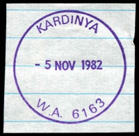 Lot 3232:Kardinya: - violet 'KARDINYA/5NOV1982/W.A. 6163' (G32R-b) on piece.  PO 1/8/1977.