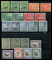 Lot 19644:1953-62 QEII Pictorials SG #48-68 5c to 5/-, excl 1/25, with all printings and perfs, but no shades, hinge remainders, Cat £40+. (22)