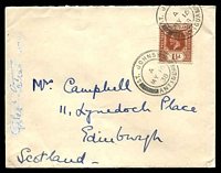 Lot 16586 [1 of 2]:1938 (May 16) use of Leewards 1½d red-brown KGV Die II on Government House cover to Scotland, annotation on side of cover has been partly obliterated.