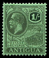 Lot 3475:1918-29 KGV Wmk Multi Script Crown/CA SG #76 1/- black/emerald.