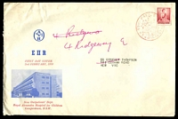 Lot 4241:Alan & Hanburys 1959 4d Lake QEII on illustrated cover, cancelled with red Sydney Town Hall pictorial cancel of 2FEB1959, re-addressed. Rare.