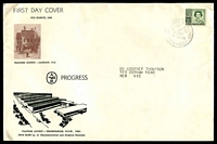 Lot 4240:Alan & Hanburys 1959 3½d Deep Green QEII on illustrated cover, cancelled with Clarence Street FD cancel. Rare.