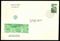 Lot 4244:Alan & Hanburys 1959 4d Queensland Centenary on illustrated cover, cancelled with Clarence Street FD cancel. Rare.