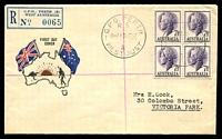Lot 729 [1 of 2]:Guthrie 1967 7½d QEII block of 4 on registered map & flags generic cover, typed address.