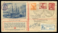 Lot 739 [1 of 2]:Royal Geographical Society 1949 Fortitude ½d & 2½d x2 on blue & red illustrated cover with purple cachet, typed address, Fortitude Valley cancel & registration label