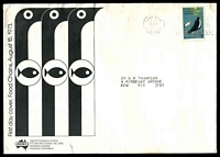 Lot 547:Sigma AAT 1973 7c Penguins on illustrated cover, cancelled with Lane Cove machine cancel, small faults. Rare.