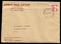 Lot 4598:Sigma 1951 3d Federation on plain cover with printed 'FIRST DAY COVER' etc on face. Melbourne 16 cancel of 1MY51. Very rare, contents included.