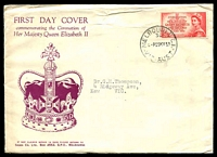 Lot 708:Sigma 1953 3½d Coronation on illustrated cover. Melbourne 30 cancel of 25MY53. Rare, contents included.