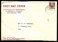 Lot 709:Sigma 1953 3½d Tasmania Settlement on annotated cover. Melbourne 27 cancel of 23SE53. Rare, contents included.