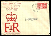 Lot 710:Sigma 1954 3½d Royal Visit on illustrated cover. Melbourne 29 cancel of 2FE54. Rare, contents included.