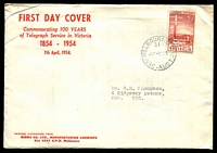 Lot 535:Sigma 1954 3½d Telegraph Centenary on annotated cover. Melbourne 31 cancel of 7AP54. Rare, contents included.