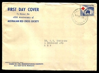 Lot 3589:Sigma 1954 3½d Red Cross on annotated cover. Melbourne 17 cancel of 9JE54. Rare, contents included.
