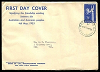 Lot 711:Sigma 1955 3½d USA Memorial on annotated cover. Melbourne 21 cancel of 4MY55. Rare, contents included.