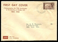Lot 4509:Sigma 1958 4d Broken Hill on annotated cover. Philatelic Bureau Melbourne cancel of 10SE58. Contents included.