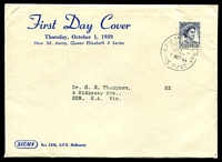 Lot 538:Sigma 1959 5d Blue QEII Type A on annotated cover. GPO Melbourne FDI cancel of 1OCT59. Contents included.