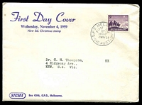 Lot 751:Sigma 1959 5d Christmas on annotated cover. GPO Melbourne FDI cancel of 4NOV59. Contents included.